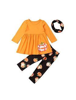 Toddler Baby Girls Halloween Outfit Long Sleeve Tassels Tunic Pumpkin Dress Top Legging Ghost Pants 2pcs Clothes
