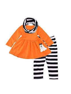 Baby Girls Halloween Clothes 3PCs Toddler Girl Kids Outfits Set Ruffle Dress Long Sleeve Tops Pants with Scarf