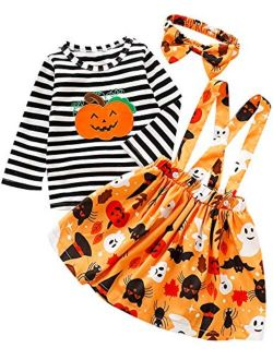Truly One Toddler Girls Halloween Outfit Little Girls Pumpkin Costume Dress Set