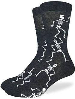 Good Luck Sock Men's Halloween Skeleton Socks - Black, Adult Shoe Size 7-12