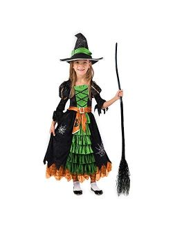 Fairytale Green Cute Witch Dress Halloween Costume Deluxe Set with Hat for Girls