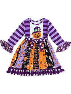 Boutique Clothing Girls Fall Colors Halloween Boo Ghost Pumpkin Dress