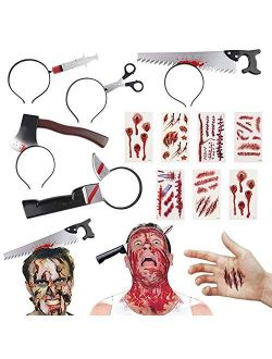 BigOtters Halloween Headbands, 23PCS Halloween Horror Set Including 5PCS Headwear Cleaver Bloody Headpieces and 18PCS Zombie Tattoos Stickers for Tricky Toys Costume Part