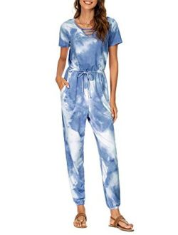 FENSACE Tie Dye Jumpsuits Petite Jumpsuits for Women,Summer Rompers for Women One Piece Outfits for Women
