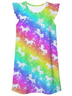 Funnycokid Little Girls Nightgowns Pajamas Dress Cute Summer Flutter Sleeve Sleepwear Nightie Nightshirt for 5-12 Years