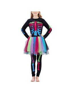 Enlifety Girls Boys Halloween Bodysuit Novelty 3D Skeleton Print Jumpsuit 7-14T