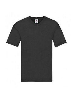 Mens Cotton Solid Short Sleeve Original V Neck T-shirt
