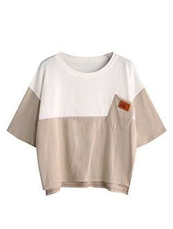 Women's Color Block Half Sleeve High Low Casual Loose T-shirt Tops