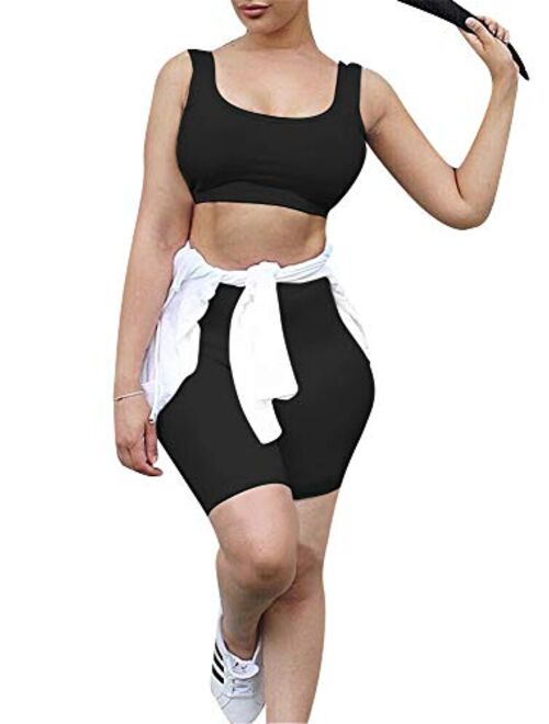 GOBLES Women's Sexy Bodycon Tank Crop Top Shorts Sets Club 2 Piece Outfits