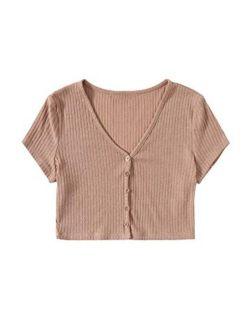 Women's Summer Short Sleeve Tee Distressed Ripped Crop T-shirt Tops