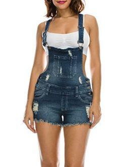 TwiinSisters Women's Ripped Strechy Slim Fit Curve Adjusting Denim Short Overalls Shortalls for Women