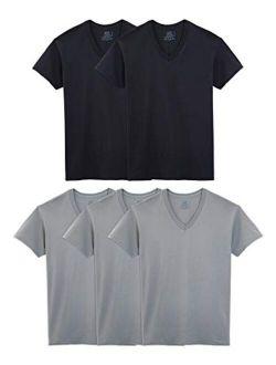 Men's Cotton Solid Regular Fit Stay Tucked V-neck T-shirt