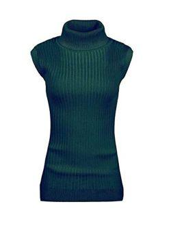 v28 Women Sleeveless High Neck Turtleneck Stretchable Knit Sweater Top