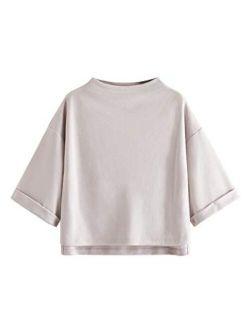 Women's 3/4 Sleeve Mock Neck Basic Loose T-shirt Elegant Top