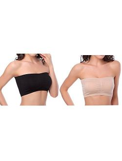 HOVEOX Women's Plus Size Padded Bandeau Strapless Bras Stretch Tube Top