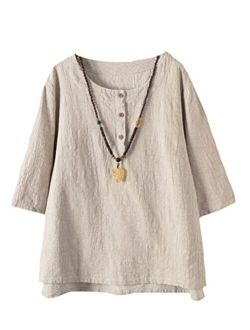 Minibee Women's 3/4 Sleeve Cotton Linen Jacquard Blouses Top T-Shirt