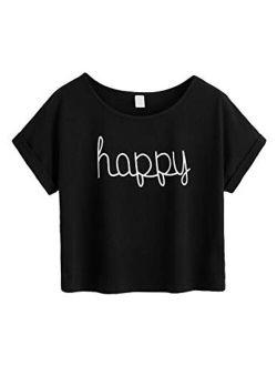 Women's Short Sleeve Tie Dye Letter Print Crop Top T Shirt