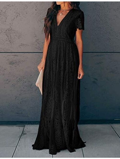 Ecosunny Deep V Neck Short Sleeve Floral Lace Bridesmaid Maxi Dress Party Gown