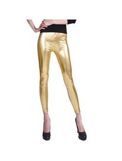 HDE Womens Shiny Metallic Leggings Liquid Wet Look Bottoms - Regular Plus Sizes