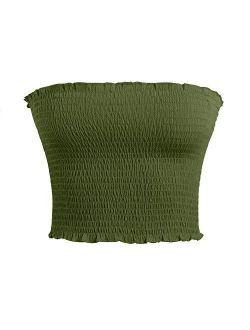 Womens Strapless Pleated Sexy Tube Crop Tops