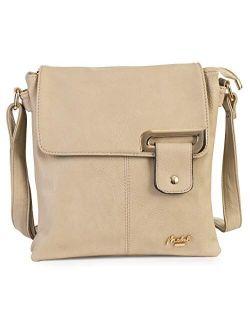 Womens Small Crossbody Shoulder Bag - Multiple Slip and Zip Pockets Handbag