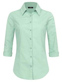 Women's Solid 3/4 Sleeve Stretchy Button Down Collared Office Formal Casual Blouse (s~3xl)