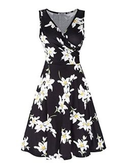 KILIG Women's Casual Dress V Neck A Line Cap Sleeveless Summer Casual Sundress Elegant Wrap Midi Dress