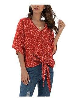 VIISHOW Womens Floral Tie Front Chiffon Blouses V Neck Batwing Short Sleeve Summer Tops Shirts