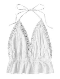 Women's Deep V Neck Halter Crop Cami Top Sleeveless Vest