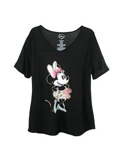 Women's Plus Size Minnie Mouse V Neck T Shirt