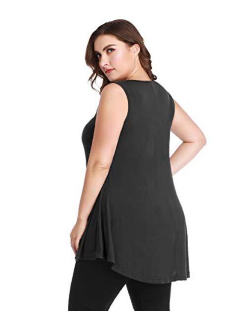 MONNURO Women's Plus Size Sleeveless Keyhole Summer Sexy Shirts Casual Loose Flowy Swing Tunic Tank Tops
