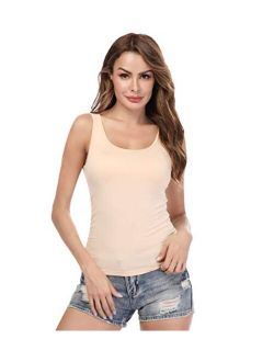 Camisoles for Women with Built in Bra,Basic Layering Tank Top Padded Bra Undershirt(S-3XL)