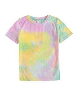 Women's Tie Dye T-shirt Rolled Short Sleeve Crop Tops