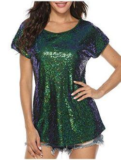 YAWOVE Women's Sparkle Sequin Top Short Sleeve Shimmer Glitter Party Tunic Tops