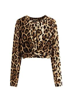 Women's Crop T-shirt Tie Front Long Sleeve Cut Out Casual Blouse Top