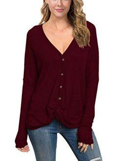 IWOLLENCE Womens Waffle Knit Loose Tunic Blouse Casual Twist Knot Tops Long Sleeve Henley Bat Wing Shirts
