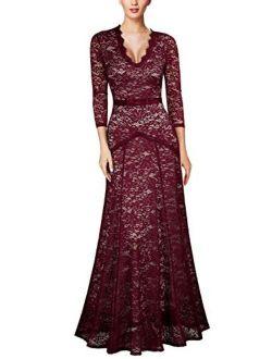 Miusol Women's Floral Lace 2/3 Sleeves Long Bridesmaid Maxi Dress