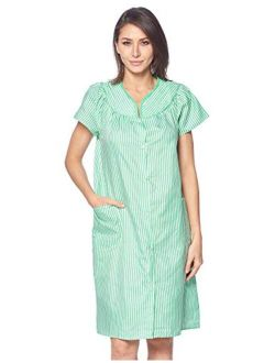 Casual Nights Women's Snaps Front Closure House Dress Short Sleeve Woven Housecoat Duster Lounger Robe