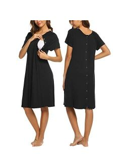 Womens Nursing/delivery/labor/hospital Nightdress Short Sleeve Maternity Nightgown With Button S-xxl