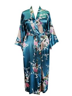Applesauce - 838 - Plus Size Women's Satin Kimono Long Robe - Peacock and Blossom (One-Size fits Most US 1X 2X 3X)