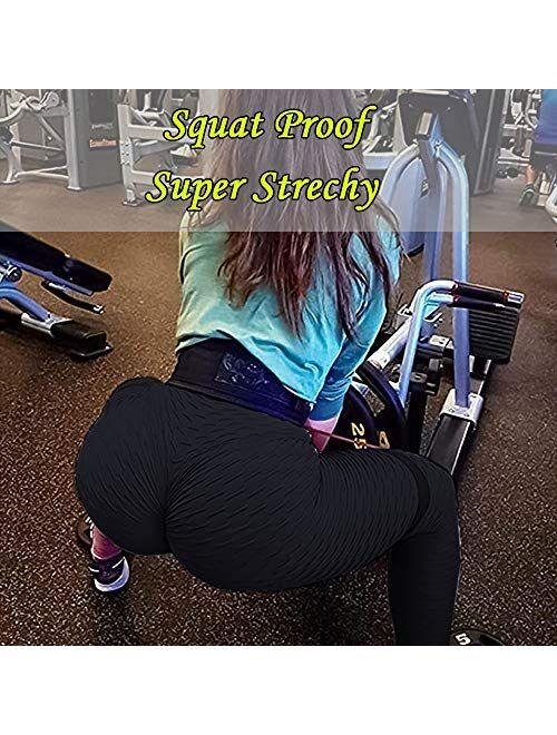 JGS1996 Ruched Butt Lifting High Waist Textured Yoga Pants Tummy Control Workout Leggings