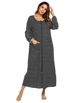 Women Long House Coat Zipper Front Robes Full Length Nightgowns With Pockets Striped Loungewear