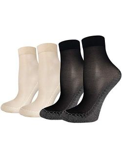 5 Pairs Ultra Thin Sheer Socks Women Mesh Transparent Lace See Through Clear Tulle Short Anklets