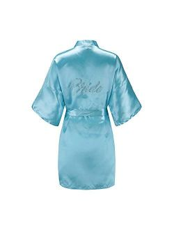 AW BRIDAL Womens Satin Robe for Brides Bridesmaids Wedding Party Getting Ready Short Kimono with Silver Rhinestones