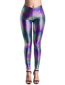 BLACK JACKY Halloween Shiny Fish Scale Mermaid Leggings for Women Pants S-4XL
