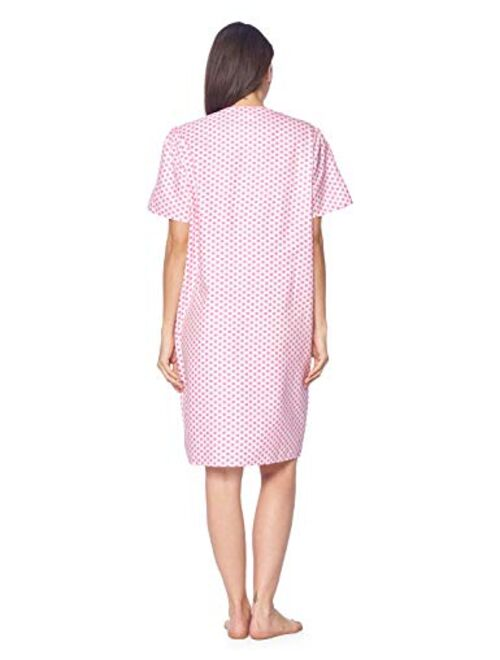 Casual Nights Women's Zipper Front House Dress Short Sleeves Duster Lounger Housecoat Robe