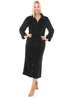 Women's Zip Up Fleece Robe, Warm Fitted Bathrobe