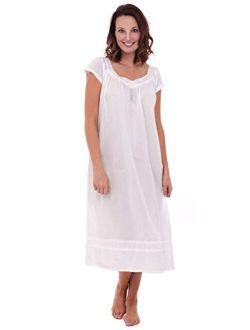 Del Rossa Womens Adele Cotton Nightgown, Long Victorian Sleepwear