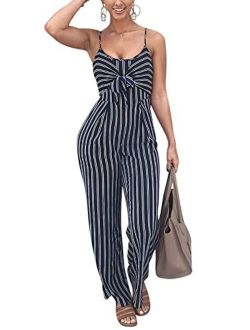 JINTING Women Spaghetti Strap Sleeveless Wide Leg Long Pants Cut Out Back Striped Casual Jumpsuit Romper
