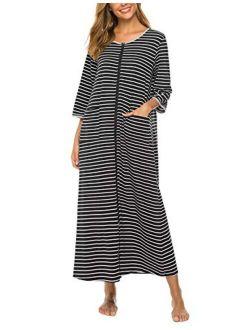 Bloggerlove Zipper Front Robes Women House Coat Half Sleeve Loungewear Long Nightgown with Pockets S-XXL